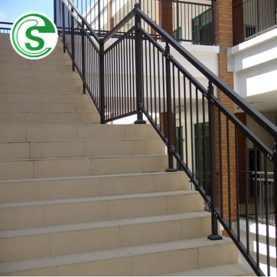 China Elegant Home Stair Railing Design Wrought Iron Balcony Grill | Home Stair Railing Design | Grill | Living Room | Inside | Small House | Outside Staircase Grill