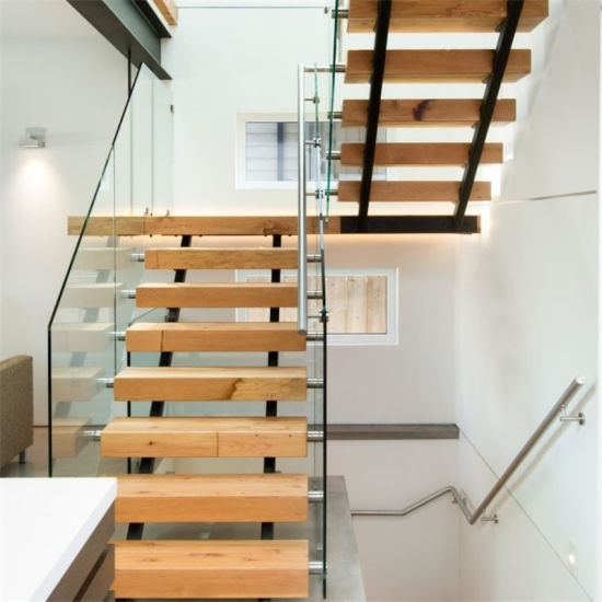Single Steel Beam Solid Wood Straight Staircase Double Beam | Stairs Made Of Wood | Pine | Staircase | Wood Plank | Hanging | Custom Made