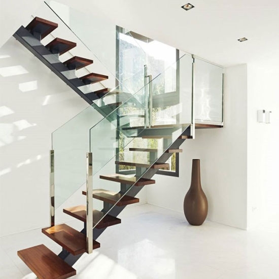 Modern Staircase Design Steel Wood Staircase China Oak Wood | Staircase Designs With Steel And Glass | Affordable | Outdoor | Railing | Spiral | Staircase Design Modern House