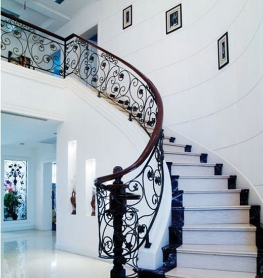 Indoor Wrought Iron Stair Railing Design Interior Stair Railings   Wrought Iron Stair Railing   Diy   Staircase   Simple   Silver   Horizontal