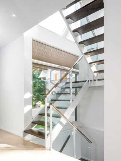 China Customized Glass Railing Wood Tread Staircase White China | White And Glass Staircase | Before And After | American White Oak | Luxurious | High End Glass | White Handrail Treads