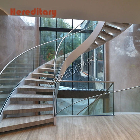 China Curved Interior Staircase Duplex Villa Wood And Glass | Duplex House Steps Design | New | Cement | Wood | Spiral Staircase | Steel