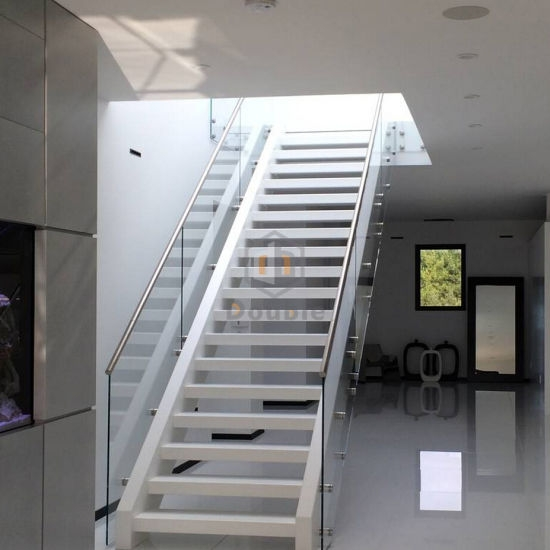 China Modern Stairs Home Decorate White Glass Railing Glass Steps   White And Glass Staircase   Step   Before And After   Handrail   Stained   Oak