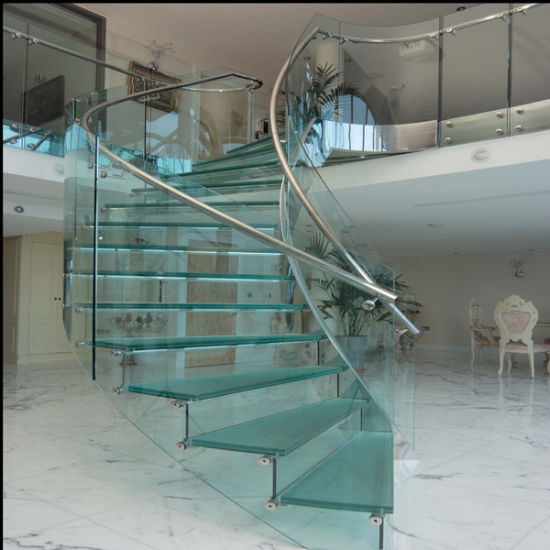Modern Helical Staircase With Glass Treads Wood Curved Stairs | Glass For Stairs Price | Laminated Glass | Stairwell | Glazed | Outdoor | Toughened