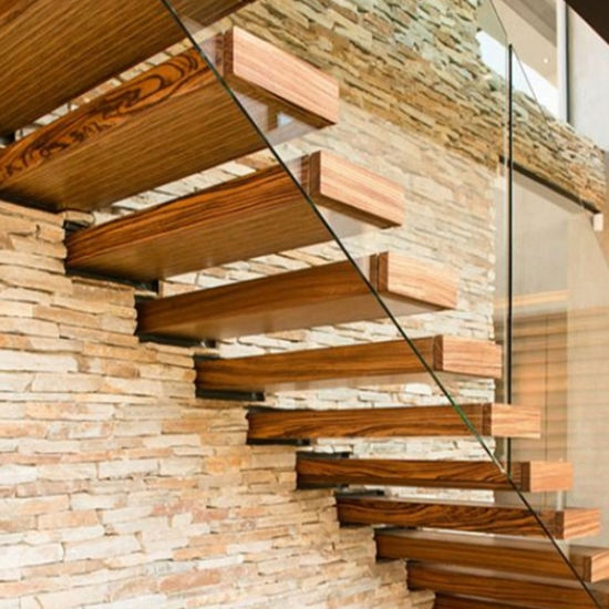 China Hot Selling Glass Railing Solid Wood Steps Build Indoor   Solid Wood Steps For Stairs   Staircase   Iron Rod   Oak Veneer   Rounded   Stained