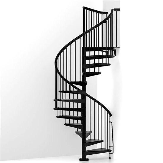 China Exterior Carbon Steel Tread Metal Spiral Staircase China | Exterior Metal Spiral Staircase | Rustic Metal | Deck | Crystal Handrail | Bar Modern | Railing