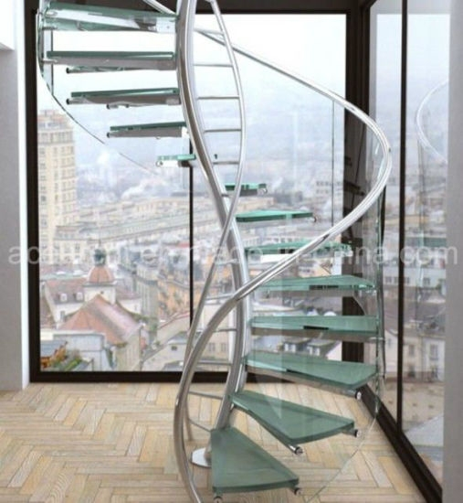 China High Quality Twisted Glass Spiral Staircase With Antislip | Spiral Staircase With Glass Railing | Exterior | In India Staircase | Stair Wood Bracket | Glass Insert | Inside Glass
