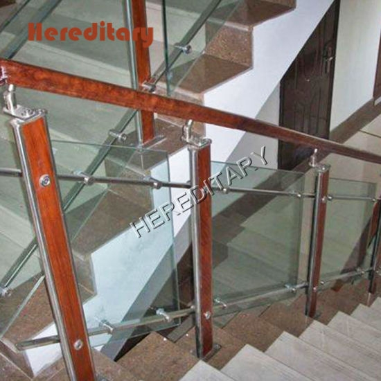 Modern Design Stainless Steel Wood Glass Balustrade In Stair Parts | Glass Banisters For Stairs Price | Floating Stairs | Oak Staircase | Oak Handrail | Wood | Curved Glass