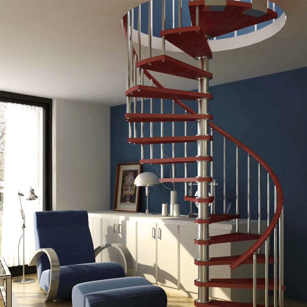 China Small Space Spiral Stair Pvc Handrail Wood Steps Spiral   Spiral Staircase Design For Small Spaces   Diseños   Cool   Tiny House   Attractive   Beautiful