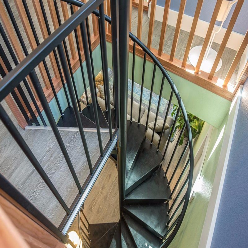 China Decorative Attic Stairs Steel Wood Tread Spiral Staircase | Steel Stairs With Wood Treads | Wooden Stair | Glass | Exterior | Pine Wood Tread | Typical