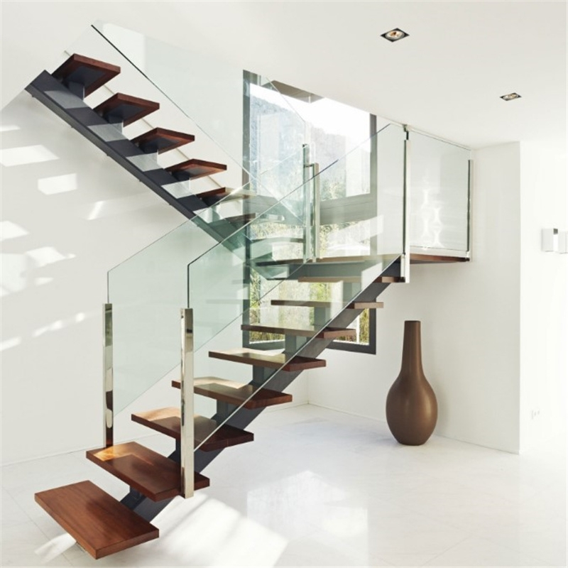 China Single Center Beam Straight Wood Staircase Glass Stair With | Wooden Stair Railing With Glass | Custom | Balcony Wooden | Detail | Oak | Wood Treads