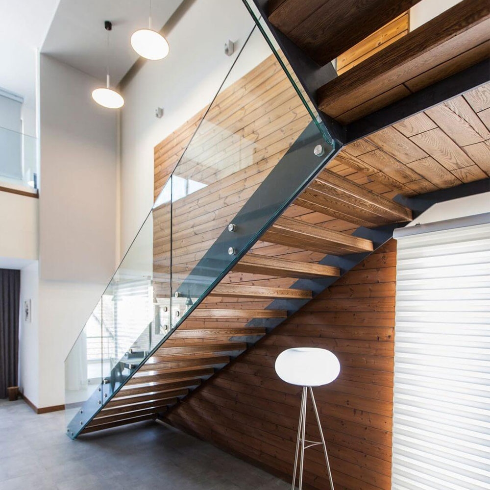 China Low Cost Steel Plate Stringer Straight Glass Stair With   Glass Balustrade Staircase Cost   Steel Plate   Floating Staircase   Zig Zag   Curved Glass   Stair Railing