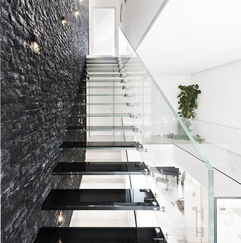 China Modern Design Straight Glass Floating Staircase With   Modern Glass Staircase Design   Half Wall Glass   Marble Floor Glass   Modern Style   Stainless Steel   Stair Case