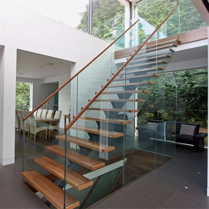 China Prefab Steel Wood Straight Staircase With Glass Stair   Pre Made Stair Railings   Porch   Pressure Treated   Stair Treads   Aluminum Railing   Stair Stringers