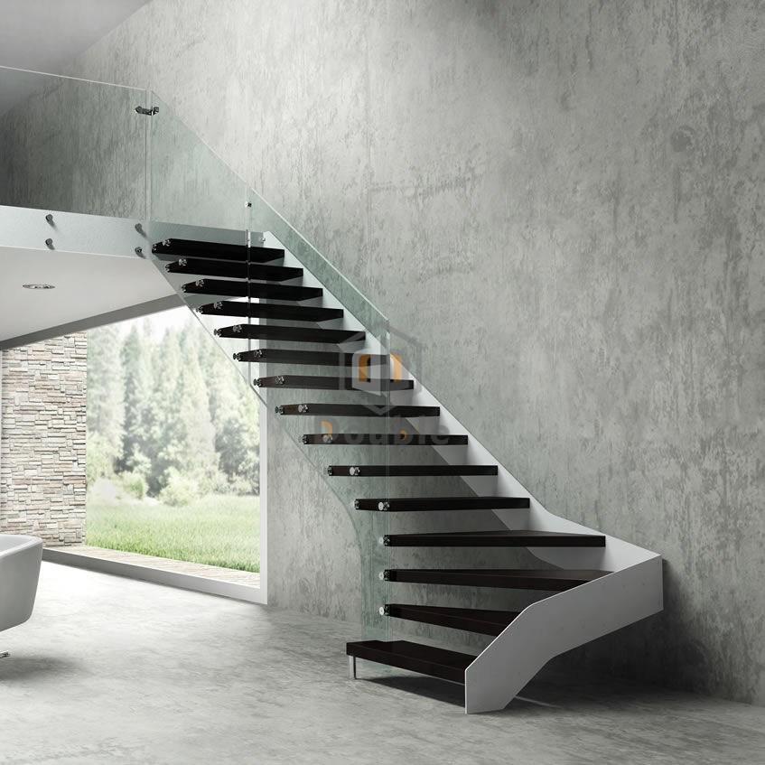 China Modern Frameless Glass Handrail Railing Black Wood Steps | Modern Black Stair Railing | Horizontal | Aluminum | Modern Style | Dark Grey | Matte Black