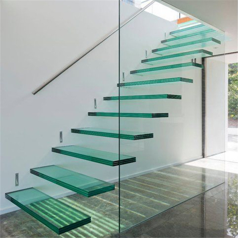 China Interior Modern Floating Staircase Tempered Glass Stair With   Glass Stair Railings Interior   Indoor   Architectural Modern Wood Stair   Stair Banister   Stainless Steel   Glass Balustrade
