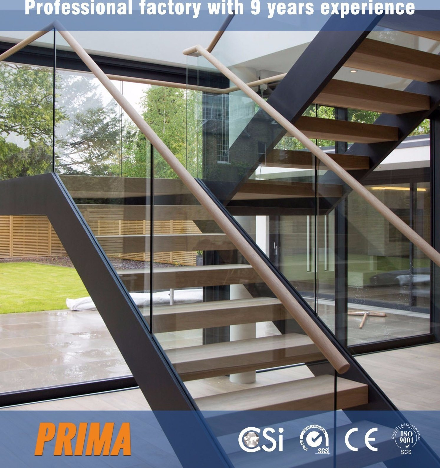 China Prefab Modern Design Straight Glass Staircase With Solid Oak | Prefab Oak Stair Treads | Red Oak | Hardwood Flooring | Stair Parts | Stain | Floating Staircase