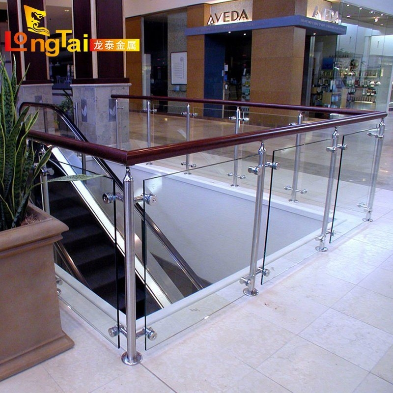 China Glass Balustrade With Wood Handrail Stair Stainless Steel   Metal Railing With Wood Handrail   Horizontal Metal   Stair Railings   Flat Bar   Stair Parts   Wrought Iron Balusters