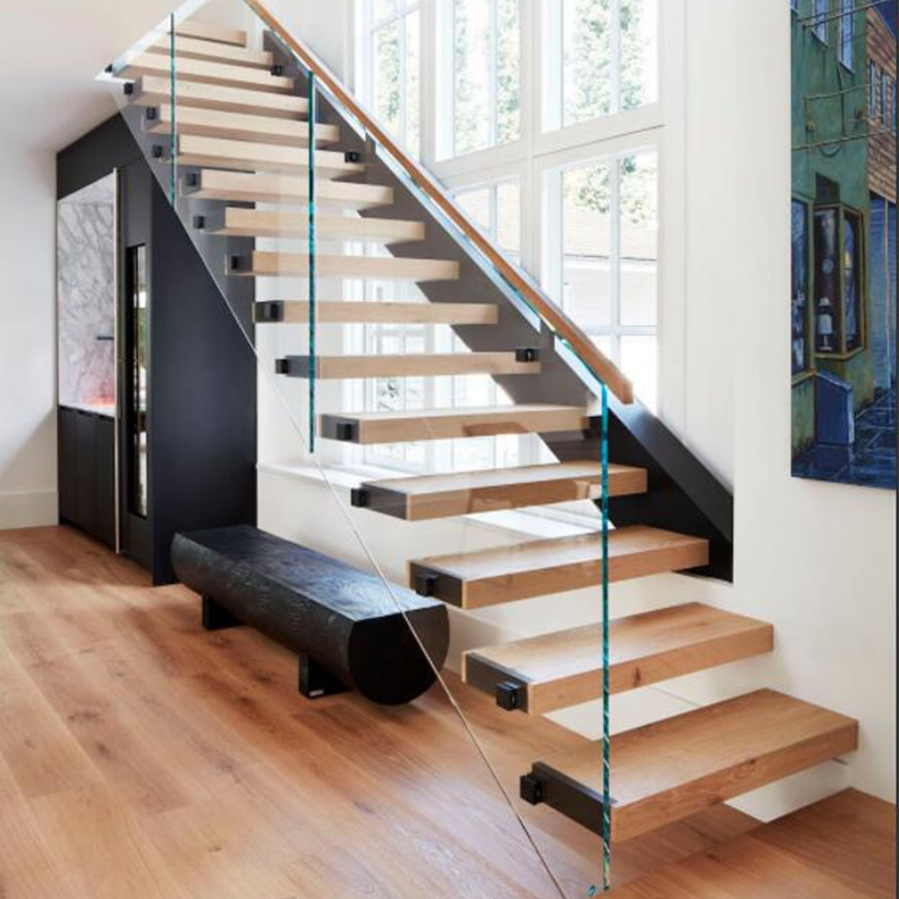 China Glass Balustrade Straight Floating Stairs China Straight | Glass Handrails For Stairs | Wood | Frameless | Outside | Standoff | Residential
