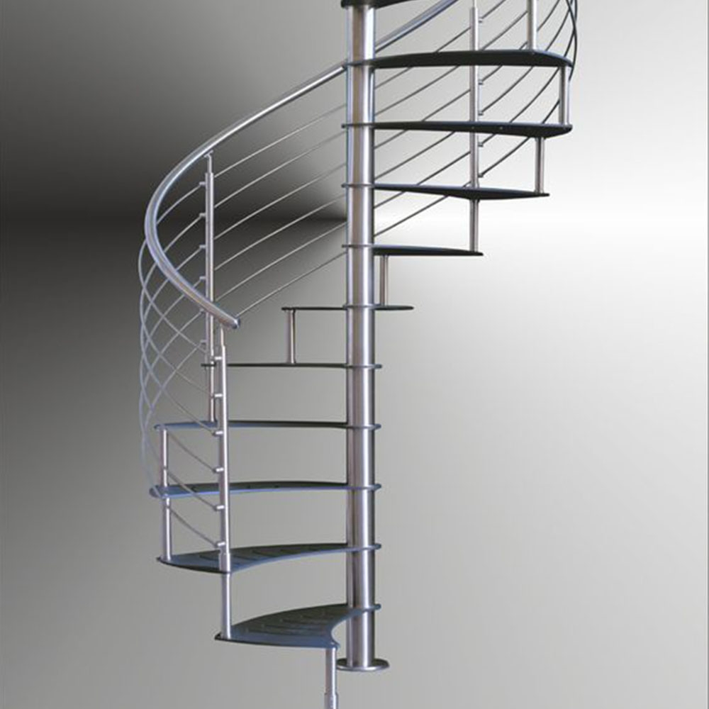 China Indoor Modern Design Spiral Staircase With Stainless Steel   Modern Black Metal Stair Railing   Minimalist   Metal Spindle   Simple Two Story House   Dark Wood   Rustic