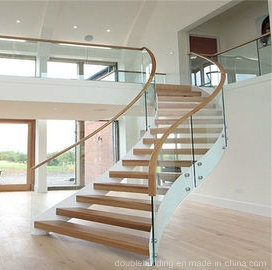 White Powder Coated Home Used Glass Wood Stair Curved Glass Arc | White And Glass Staircase | Before And After | American White Oak | Luxurious | High End Glass | White Handrail Treads