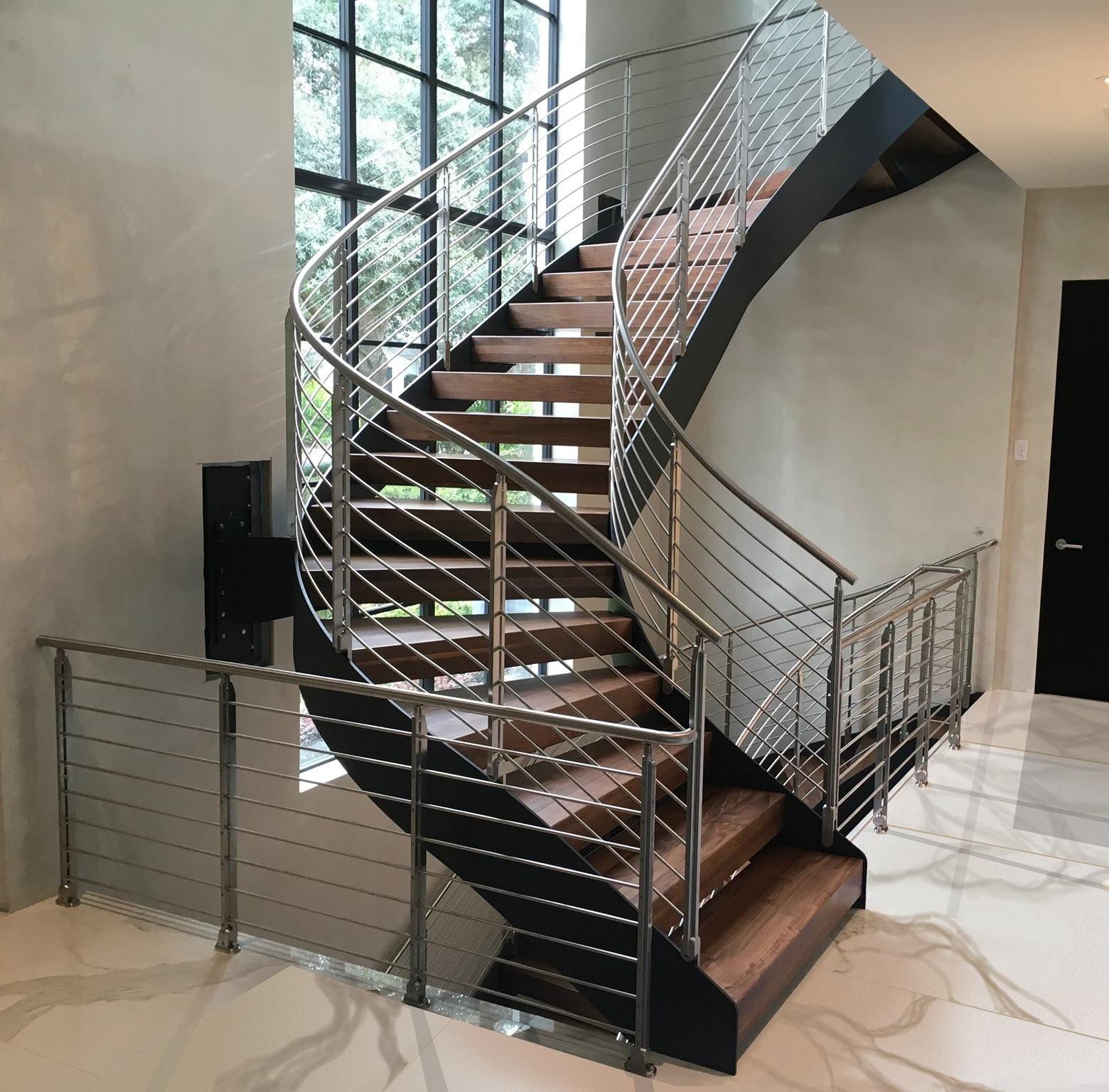 China Modern Staircase Design Wood Steel Curved Staircase   Round Staircase Designs Interior   Classic   Wooden   Elegant   Showroom   Round Shape Round