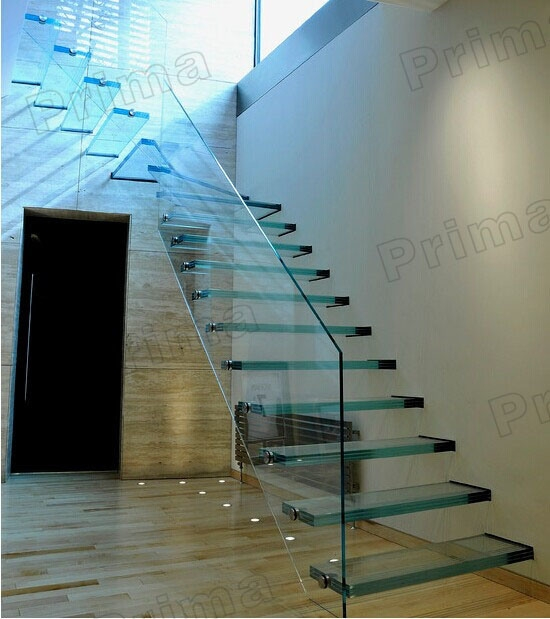 China Laminated Glass Floating Staircase Frameless Tempered | Floating Stairs With Glass Railing | Wall | Commercial | Glass Staircase | Thin Glass | Modern