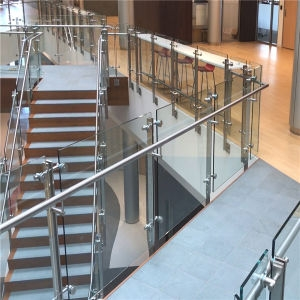 China Stainless Steel Double Plate Glass Balustrade For Stair | Stainless Steel Glass Staircase | Transparent | Handle | Powder Coated Steel | Open Tread | Black Stained