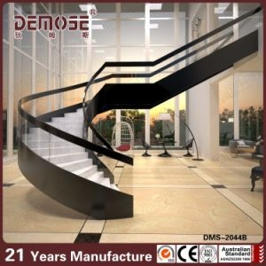 China Clear Glass Handrails Curved Stair In House Design Dms 2044   Clear Handrails For Stairs   Steel   Clear Acrylic   Wood   Riser   Metal