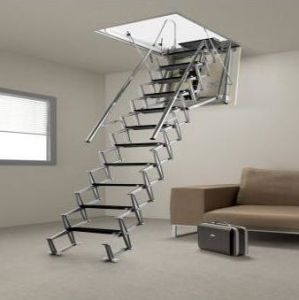 China Aluminum Indoor Loft Ladder Adjustable Ladder The Telescopic   Folding Loft Stairs With Handrail   Circle Stair   Design   Limited Space   Stairway Osha   Semi Automatic