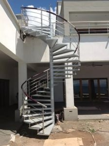 China Stairs Modern Steel Glass Stair Railing Spiral Staircase | Stairs Railing Designs In Steel With Glass | Single Wall | Interior | Eye Catching | Steel Main Gate | Contemporary