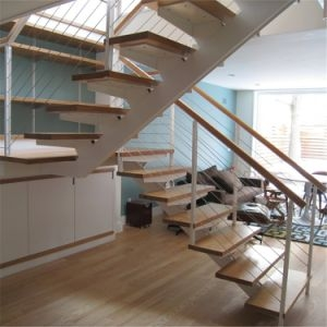 China Wrought Iron Railing Straight Staircase With Solid Wood | Iron And Wood Staircase | Traditional | Spiral | White | Internal | Cherry Wood