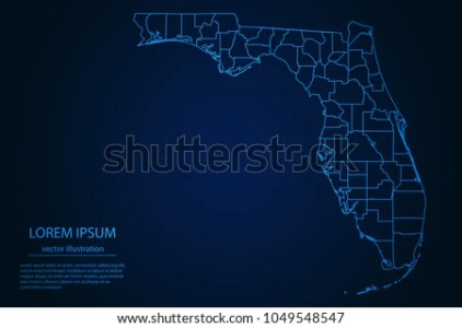 Florida Map with Counties Vector   Download Free Vector Art  Stock     Abstract High Detailed Glow Blue Map on Dark Background of Map of Florida  symbol for your