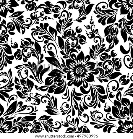 Rose Flower Vector Background Black And White   Download Free Vector     vector seamless black and white pattern with abstract stylized flowers in  folk style  hohloma