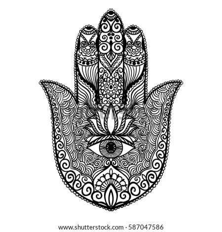 Royalty-free Vector hamsa hand drawn symbol #341528585 ...