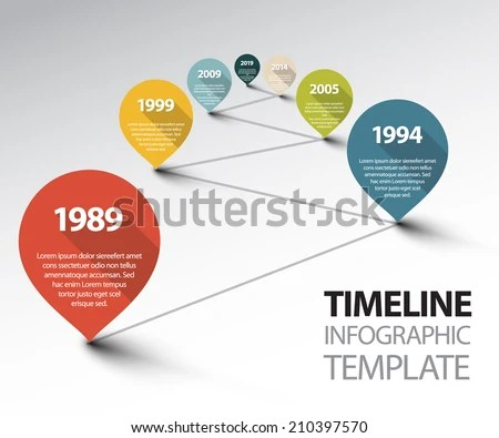 Free Retro Timeline Template Vector   Download Free Vector Art     Vector Infographic Timeline Template with retro pointers