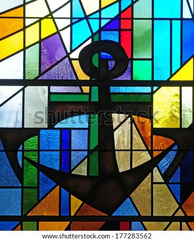 Modern Stained Glass Window Depicting Ship'S Anchor, An ...