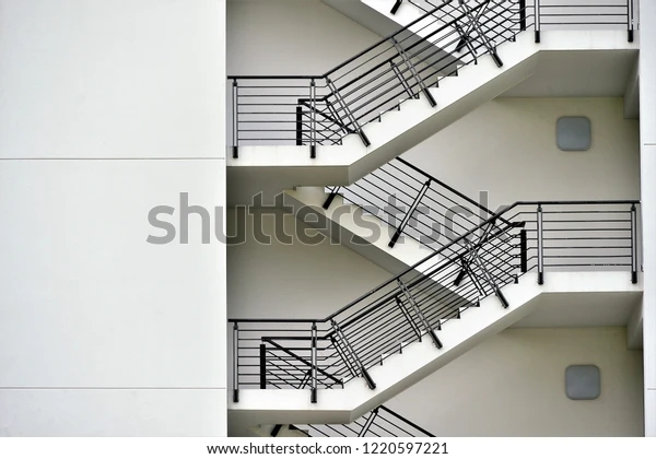 Close Exterior Steel Concrete Stairs Interesting Buildings | Steel And Concrete Stairs | Welding | Smooth | Cantilevered | Industrial | Cement