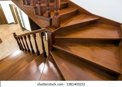 Wooden Stair Railing Images Stock Photos Vectors Shutterstock   Hardwood Handrails For Stairs   Brown   Outdoor   Stairway   Light Wood   Colour Stair Painted Stair Railing