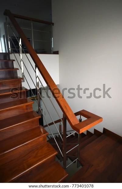 Home Wooden Ladder Stairs Two Floors Stock Photo Edit Now 773401078   Ladder Design In Home   Small Showroom   Limited Space   Unusual   Elegant   Tiny House