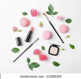 Makeup Background Images  Stock Photos   Vectors   Shutterstock Makeup cosmetic with macaroons and beautiful flowers on white background