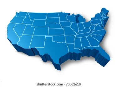 Mapa Usa Images  Stock Photos   Vectors   Shutterstock U S A 3D map symbol represented by a blue dimensional United States