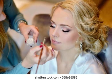 Bridal Makeup Images  Stock Photos   Vectors  10  Off    Shutterstock Wedding makeup artist making a make up for bride  Beautiful sexy model girl  indoors