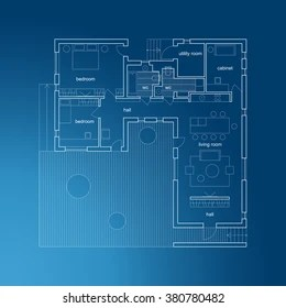 House Blueprint Images  Stock Photos   Vectors   Shutterstock Architectural plan of modern house  Vector blueprint
