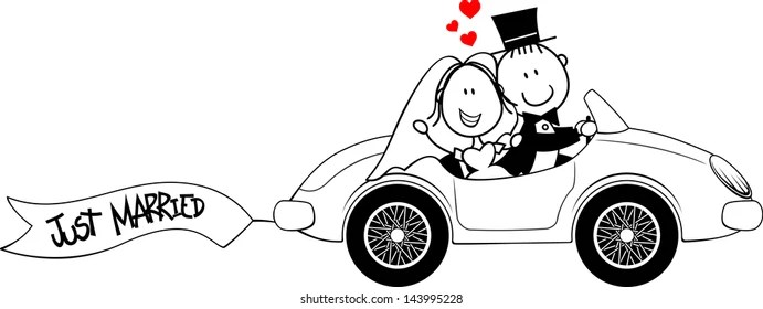 Just Married Couple Car Clip Art