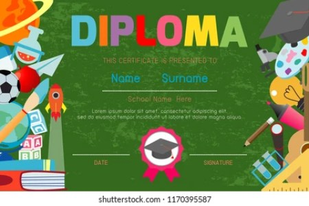 Certificates Kindergarten Elementary Preschool Kids Diploma Stock     Certificates kindergarten and elementary  Preschool Kids Diploma certificate  pattern design template  Diploma template for