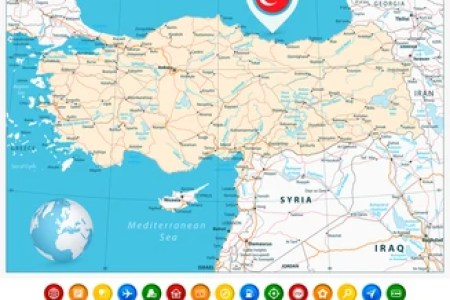 and colorful map pointers with separated layers travelshop turkey days best of and syria tour world map syria to travelshop turkey days best of and