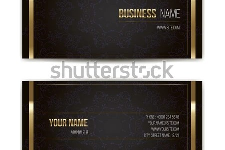 Elegant Vector Business Card Template Vector Stock Vector  Royalty     Elegant vector business card template  Vector format  Gold and dark colors