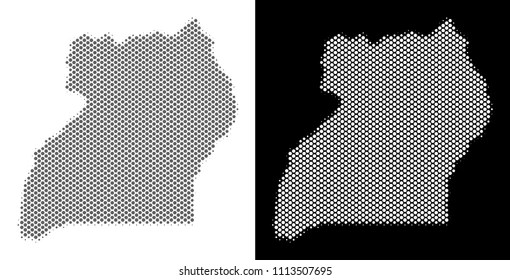 Uganda Region Map Images  Stock Photos   Vectors   Shutterstock Halftone round dot Uganda map  Vector geographical maps in grey and white  colors on white
