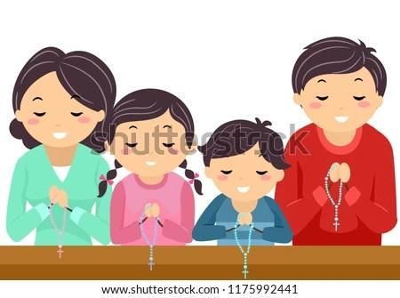 Illustration Stickman Family Praying Rosary Inside Stock ...
